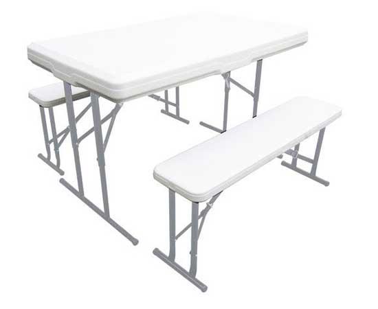 Conjunto de mesa plegable con dos bancos para acampada - Mesas de camping plegables decathlon ...
