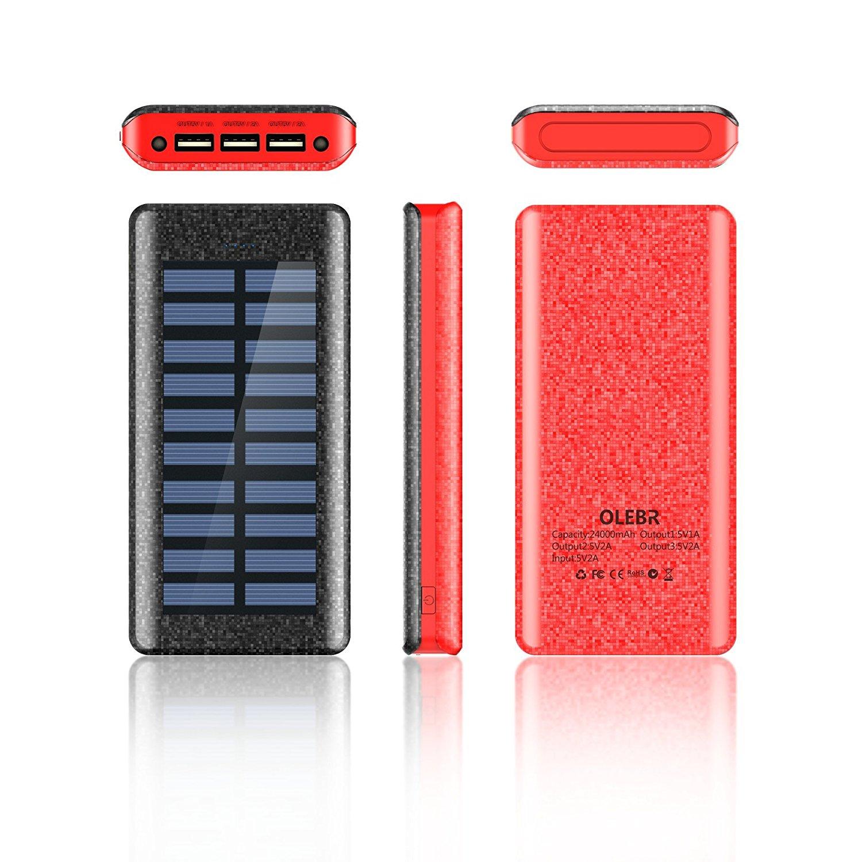 Oferta del d a bater a externa de 24000 mah con 3 puertos usb de alta velocidad y panel solar - Extern panel ...