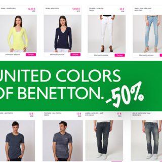 Descuentos de hasta el 50% en el catálogo de United Colors of Benetton en moda para hombre y mujer y además envío gratis y descuento de 10 euros.