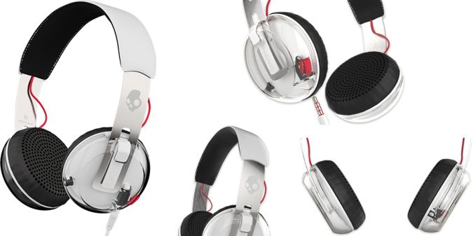 Grind by SkullCandy On Ear Headphones - White Version - Various Closeup Views