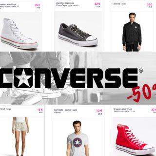 Descuentos de hasta el 50% en el catálogo de ropa y calzado de Converse y además cupón de 10€ y gastos de envío gratis.