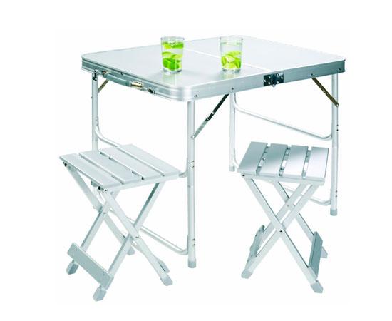 Mesa plegable de aluminio para camping con dos taburetes for Mesas de diseno baratas