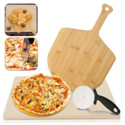 Set para pizza: piedra de cordierita para horno con pala de bambú y cortador por 26,39€.