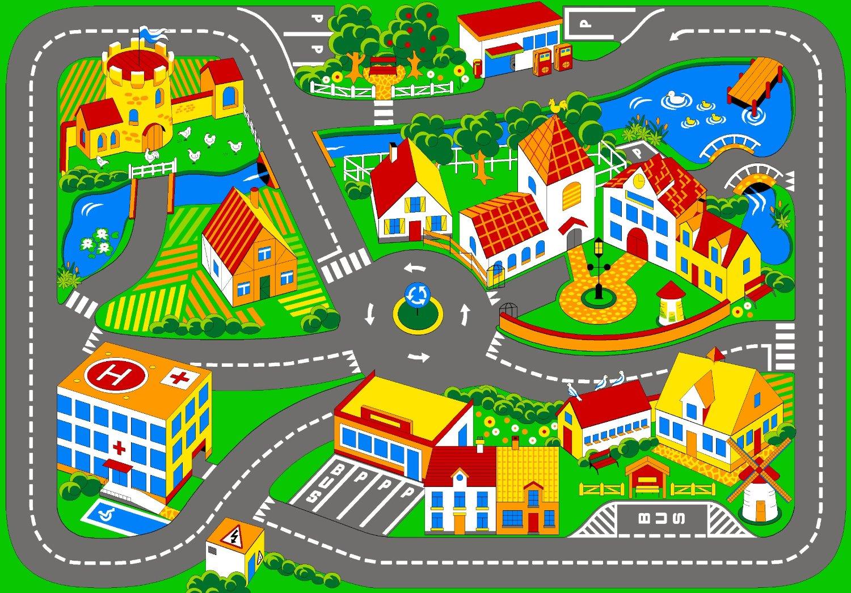 Alfombra infantil de juegos con dise o de ciudad y - Alfombra carretera ...