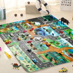 Alfombra infantil de juegos con diseño de ciudad y carreteras 83 x 57cm por 3,64€ con código.