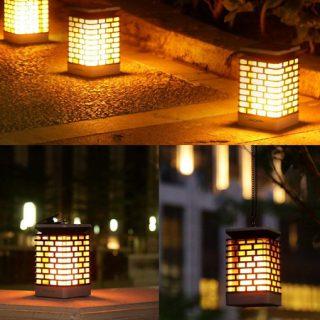 2 Lámparas externas efecto fuego con panel solar (IP55) por 10€, antes 27,50€.