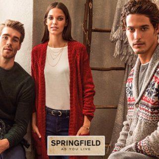 Todo el catálogo de moda masculina y femenina de Springfield con el 50% de descuento.