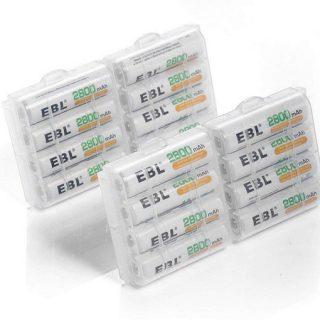 Pack de 8 pilas recargables EBL 2800mAh AA Ni-MH por 12,79€ y AAA 1.100mAh por 7,18€.
