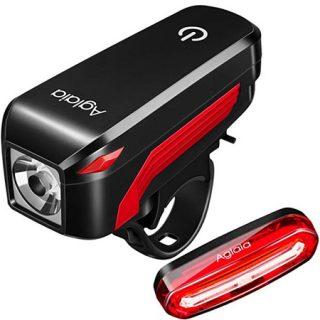 Pack de luces para bicicletas de aluminio Aglaia recargable por USB por sólo 3,49 euros con cupón de descuento.