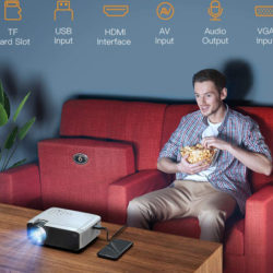 Mini proyector con 3800 lúmenes LED, con conexiónes HDMI, VGA, USB, SD y AV, Home Cinema portátil, 2 altavoces y jack 3,5 mm, compatible con TV Stick y Chromecast por 55,99€ con código, antes 89,99€.