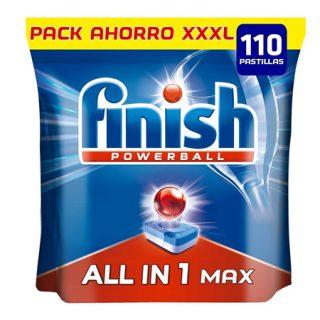 Finish Powerball Todo en Uno Max envase XXXL de 110 pastillas por 11,66€.