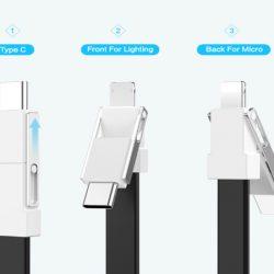 Carga todos tus dispositivos con el Floveme 3 en 1, llavero con conector USB, Lightning, Micro-USB y USB tipo C por sólo 2,96€.