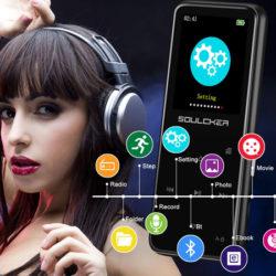 Reproductor bluetooth 4.0 Mp3, grabador de voz, radio FM, 8GB ampliable a 128, ranura microSD, podómetro, brazalete deportivo y auriculares por 13,99€ con código, antes 27,99€.