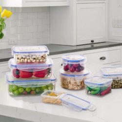 Set de 8 tuppers Deik aptos para uso en lavavajillas y microondas por 13,99€.