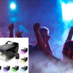 Máquina portátil de niebla Virhuck, 500W, efectos de color luz (3 leds) y control remoto por 25,49€ con código, antes 50,99€.