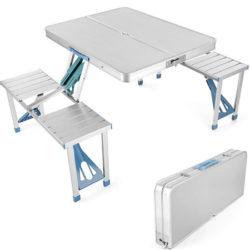 Mesa plegable de alumímio 4 asientos para camping/playa/picnic con agujero para sombrilla por 24€ con código, antes 59,99€.