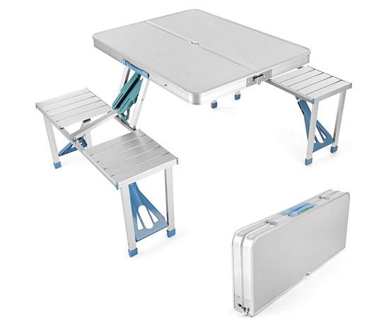Mesa plegable de alum mio 4 asientos para camping playa for Mesa plegable con asientos