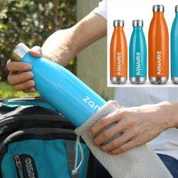 Botella termo de acero inoxidable con doble pared y aislamiento al vacio, azul o naranja (500/750ml) por 7,99€ con código.
