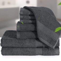 Juego de 8 toallas de algodón negras absorbentes y transpirables, sin químicos por 17,99€ con código.