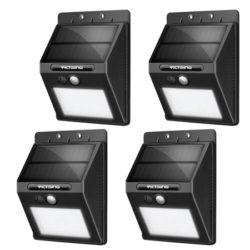 Pack de 4 focos solares LED VicTsing con iluminación de 400lm, 2200 mAh, impermeables (IP65), sensor movimiento por 16,99€ con código, antes 36,99€.