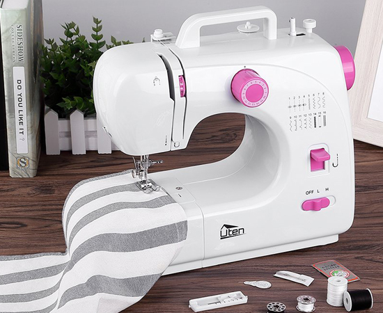 Mini máquina de coser Uten, 16 puntadas, doble velocidad