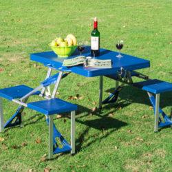 Conjunto de mesa y taburetes plegables para campings o picnis con agujero para sombrillas por sólo 31,28€ Envío desde España!!