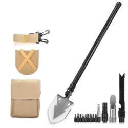 Pala plegable multifunción con herramientas de supervivencia (cuchillo, cincel de hielo, brújula, brocas para destornillador) por 10,80€ con código, antes 26,99€.