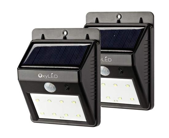 2 focos led con sensor de movimiento ip65 panel solar - Focos de bajo consumo para exterior ...