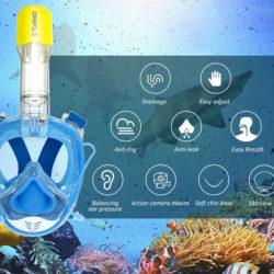 Máscara de snorkel, anti-vaho, 180º, acople para cámaras deportivas por 15,59€ con código.