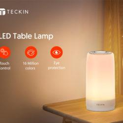 Lámpara de mesa led táctil blanco cálido y RGB Teckin por sólo 12,69€ antes 26,99€..