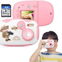 """Cámara de fotos/video para niños, pantalla HD TFT 1,44"""" color rosa o azul por 10€ con código, antes 24,99€."""