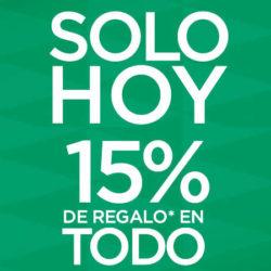 ¡Sólo hoy! Recibe un cupón con un 15% de tus compras en El Corte Inglés.