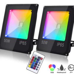 2 focos LED RGB para exteriores IP65, 50W por 32,39€; 10, 30 y 30W con un 40% de descuento con código.
