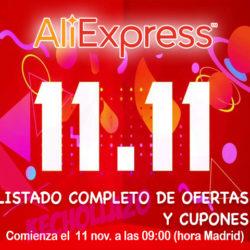 ¡Últimas horas del 11/11 de Aliexpress hasta las 9:00h.! Listado de mejores ofertas y códigos actualizados: Cupones de 30€ por cada 300 y 20€ por cada 200€ de nuevo activo.