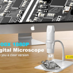 Microscopio digital de bolsillo, 8 leds, 1080p HD, aumento 50-1000X, conectividad wifi/USB por 23,39€ antes 38,99€.