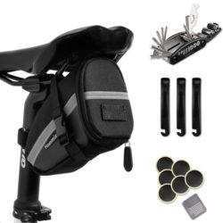 Bolsa de herramientas para sillín de bicicleta, 16 accesorios por 11,89€.