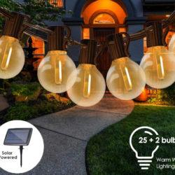 7.62M de cadena de luces led impermables (25 unidades+2 de repuesto) con cargador solar 540mAh por 17,24€ antes 34,49€.