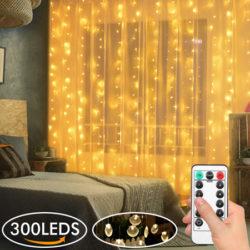Cortina de luces LED impermeable de 3 metros de alto y 3 de ancho y mando a distancia con 8 modos de luz por sólo 9,99€ con código.