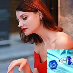 Pendientes cúbicos de cristal Swarovski  Aurora Boreal azul y plata de ley 925 Alex Perry por 4,99€ con código, antes 21,99€.