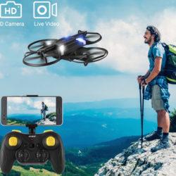 Mini drone plegable Helifar H816, FPV, barómetro, 2 baterías 380mAh por 13,53€ con código, antes 32,99€.