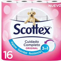 Scottex Original paquete de 16 rollos por sólo 2,99 euros en El Corte Inglés.