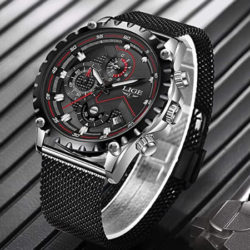 Reloj analógico de cuarzo Lige, correa de malla, impermeable por 13,20€.