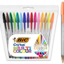 Set de 15 Bolígrafos Bic Cristal Multicolor de punta ancha por sólo 2,99€ antes 9,06€.