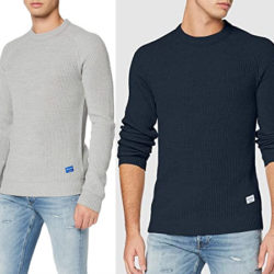 Jersey Jack & Jones Jorpannel Knit Crew Neck para hombre desde sólo 8,24€ en gris, negro y azul.