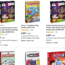 Juegos Monopoly, Tragabolas y Cluedo en versión viaje por sólo 6,80€. Antes 17,33€.