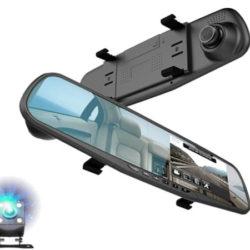 Espejo retrovisor con monitor Full HD, cámara dual, G-Sensor, visión nocturna para coche por 19,99€ antes 39,98€.