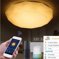 Lámpara de techo wifi, luz cálida o blanca, 48W/24W compatible con Alexa/Google Home/IFTTT por 19,99€ antes 39,99€.