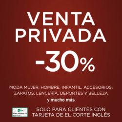 VENTA PRIVADA sólo para clientes con tarjeta de El Corte Inglés: 30% en deportes, moda, juguetes, electrodomésticos, perfumería, cultura, etc.