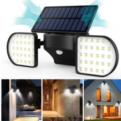 Focos dobles solares orientables 360º e impermeables (IP65), batería 2000mAh con sensor de encendido e infrarrojo por 16,89€ antes 25,99€.