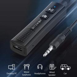 Receptor Bluetooth 5.0 BlitzWolf BW-BR0, audio baja latencia, micro, control disparo de cámaras, batería 110mAh por 9,79€.